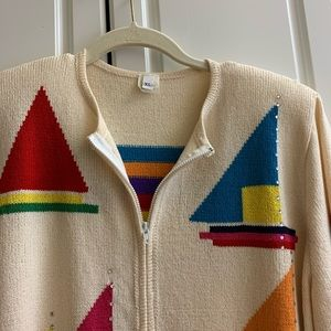 Sweaters - Sailboat themed zip-up sweater